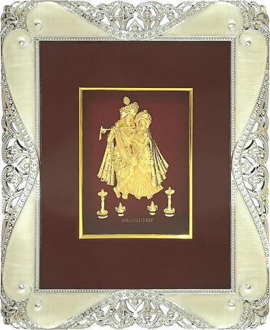 "Gold Leaf Picture in Frames Krishna and Radha 12""x10"" - wallets for men's at mens wallet"