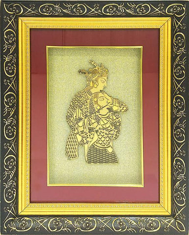 "Gold Leaf Picture in Frames Krishna Radha16""x13"" - wallets for men's at mens wallet"