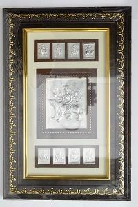 "Silver Durga Picture In Frame 12"" x 8"" - wallets for men's at mens wallet"
