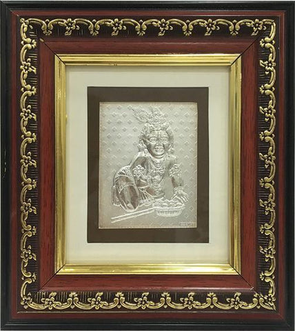 "Silver Picture in Frames Ladoo Gopal 8""x8"" - wallets for men's at mens wallet"