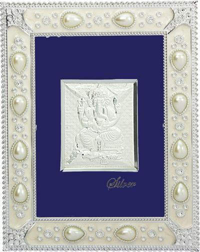 "Silver Picture in important Frames Ganesh ji 12""x10"" - wallets for men's at mens wallet"