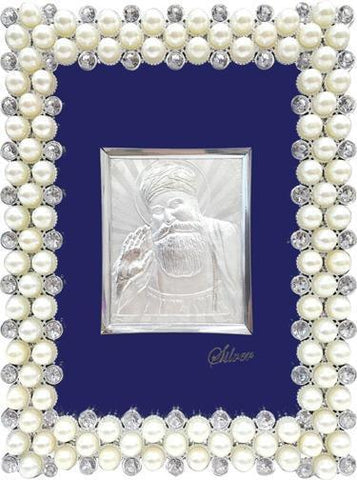 "Silver Picture in important Frames Guru Nanak 11""x 9"" - wallets for men's at mens wallet"