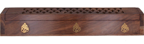 Cavalio® Rose Wood Incense Burner Exquisite Hand Carved Wooden Incense Stick,cone Holder Box with Jali and Ganesha - wallets for men's at mens wallet