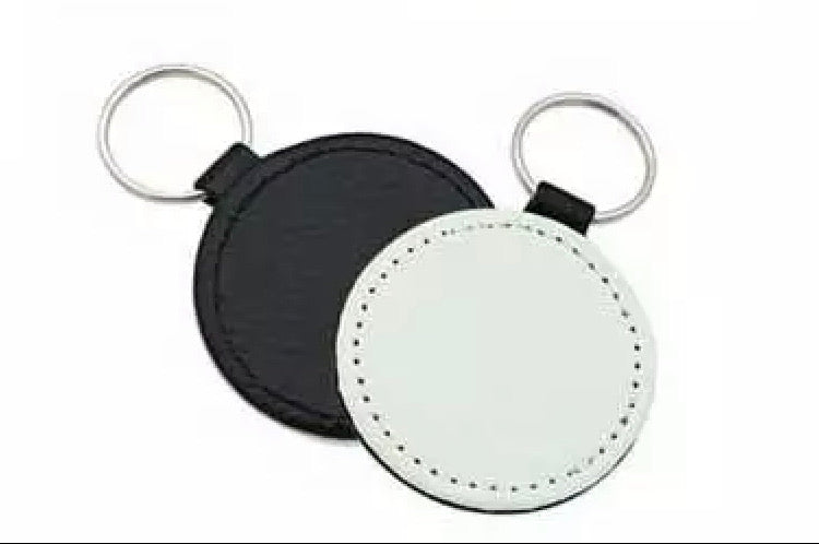 Imitation Leather Round Keychains for Sublimation