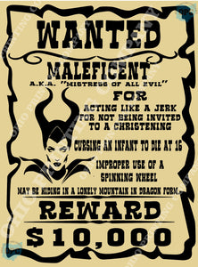 Bounty: Wanted Poster Maleficent – Ohio Printing Company