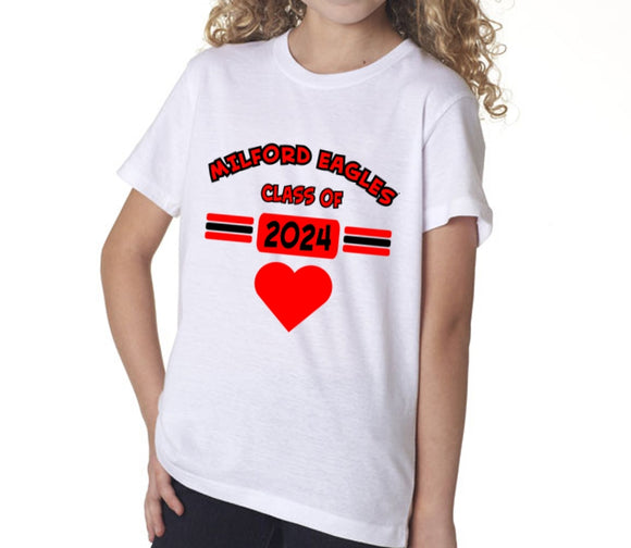Milford eagles heart class of short sleeve tee ohio for T shirt printing loveland co