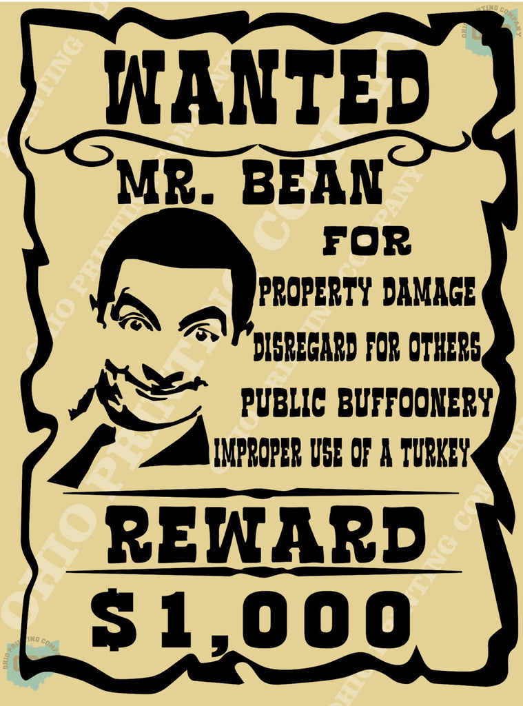 bounty wanted poster mr bean ohio printing company