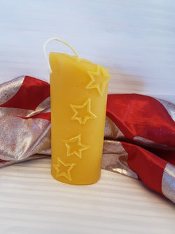 Oval Star Pure Beeswax Candle - 2.5