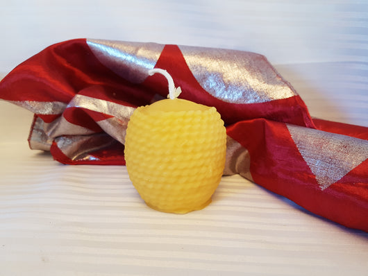 Round Basket Pure Beeswax Candle - 2.5