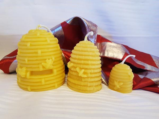 Medium Bee Skep Pure Beeswax Candle 2.5