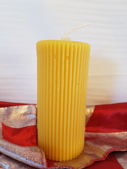 Corrugated Pillar Pure Beeswax Candle - 5.5