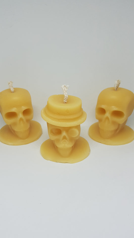 Skull beeswax candle - pure beeswax candles. 2 1/2