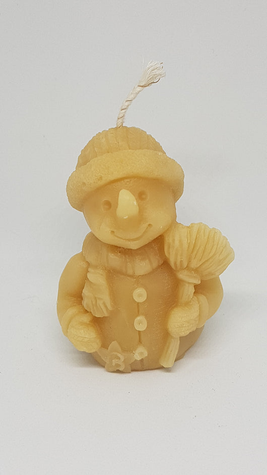 Snowman beeswax candleCandles- Barriault Ranch