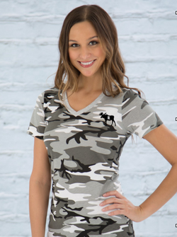Ladies V-neck Tee - CamoShirts- Barriault Ranch