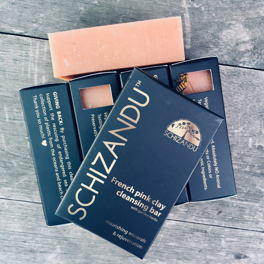 French Pink Clay Cleansing Bar, - Schizandu