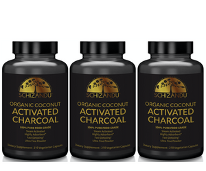 100% Pure, Organic Activated Coconut Charcoal Capsules - 210 count