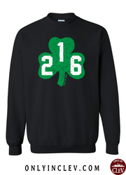 """216 Shamrock"" design on black - Only in Clev"