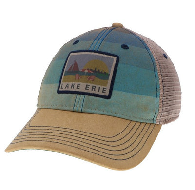 Lake Erie Washed Blue Trucker Hat - Only in Clev