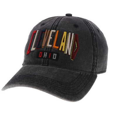 Colorful Cleveland Hat on Washed Black Hat - Only in Clev