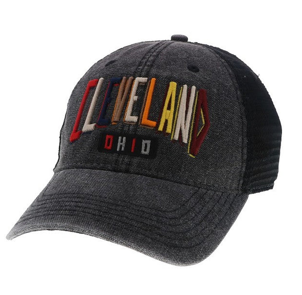 Colorful Cleveland Hat on Washed Black Trucker Hat