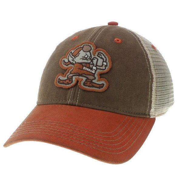 Angry Elf on Brown Washed Trucker Hat - Only in Clev