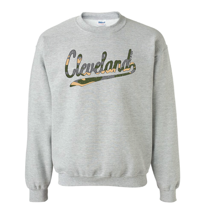 Cleveland Script Camo Crewneck Sweatshirt - Only in Clev