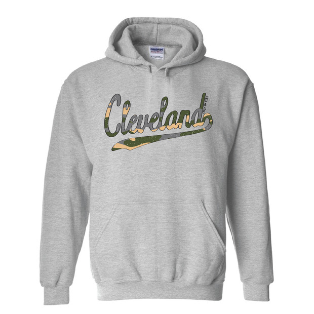 Cleveland Script Camo Hoodie - Only in Clev