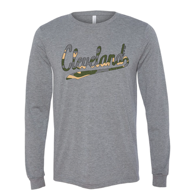 Cleveland Script Camo Long Sleeve T-Shirt - Only in Clev