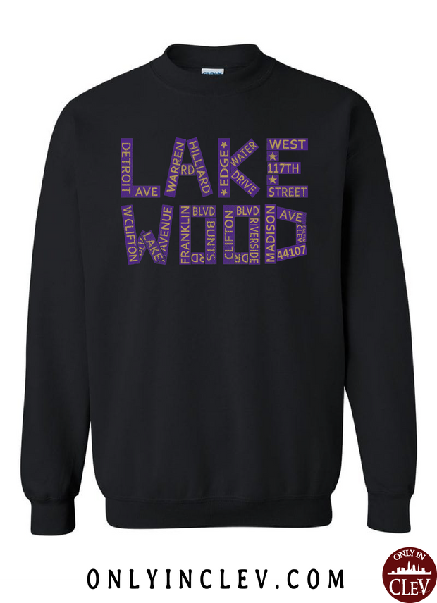 Lakewood Streets Design Crewneck Sweatshirt - Only in Clev