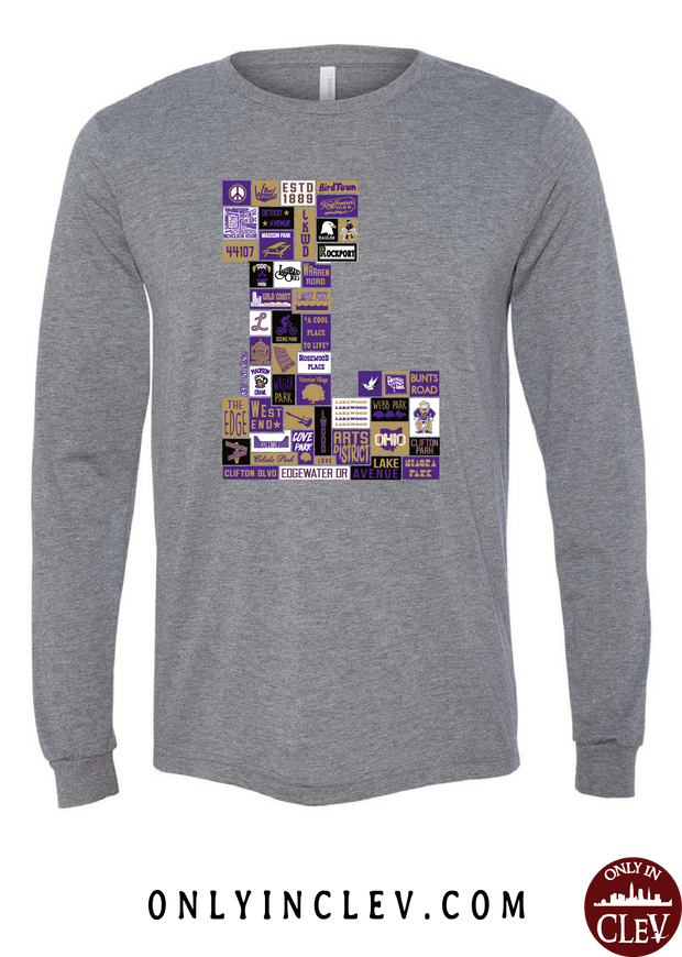 "Lakewood Neighborhood Shirt ""L Design"" Long Sleeve T-Shirt - Only in Clev"