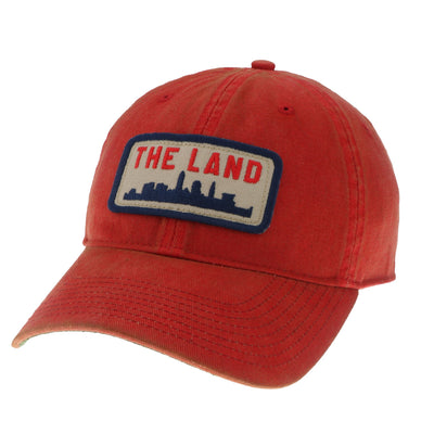 The Land Patch on Red Washed Trucker Hat