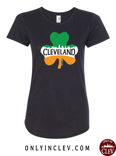 Cleveland Irish Shamrock Womens T-Shirt - Only in Clev