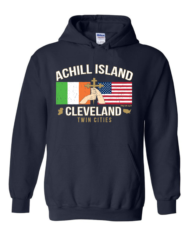 """Achill Island Twin Cities"" design on Navy"