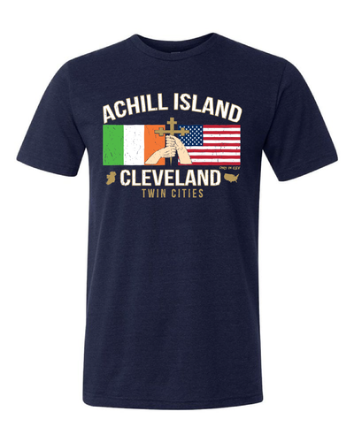 """Achill Island Twin Cities"" design on Navy - Only in Clev"