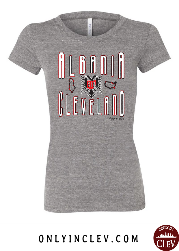"""Cleveland Albania"" Design on Gray - Only in Clev"