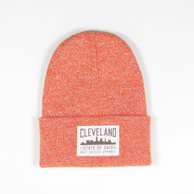 White Cleveland Patch on Orange Beanie
