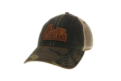 Camo/Black Trucker Hat/Leather Skyline - Only in Clev