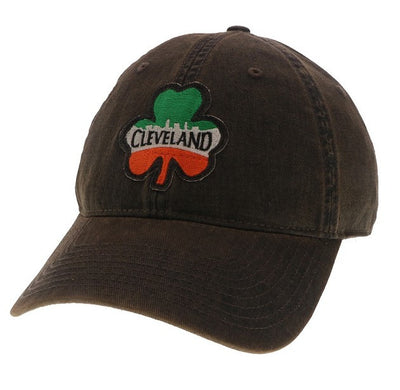 Cleveland Shamrock on Washed Black Hat - Only in Clev