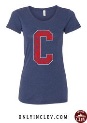 """Cleveland Block C Design"" on Navy - Only in Clev"