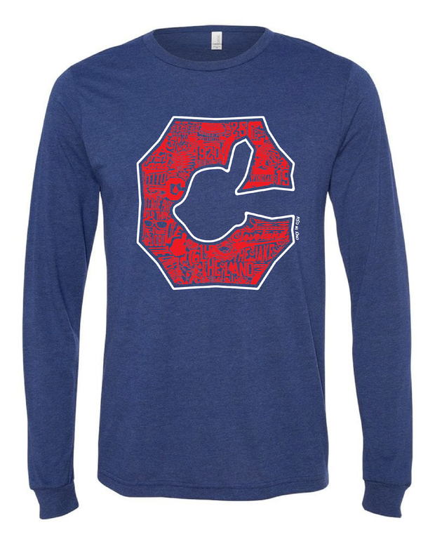 """Cleveland Block C"" Baseball Design on Navy - Only in Clev"