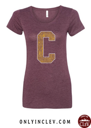 """Cleveland Neighborhoods Gold Block C"" on Maroon - Only in Clev"