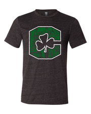 """Block C Shamrock"" design on Black"