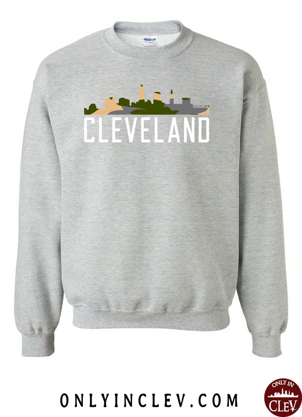 Cleveland Skyline Camo Crewneck Sweatshirt - Only in Clev