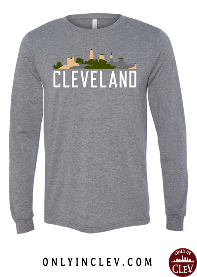 Cleveland Skyline Camo Long Sleeve T-Shirt - Only in Clev
