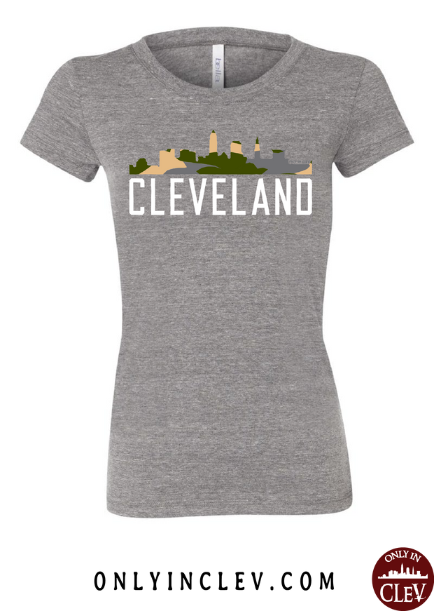 Cleveland Skyline Camo Womens T-Shirt - Only in Clev