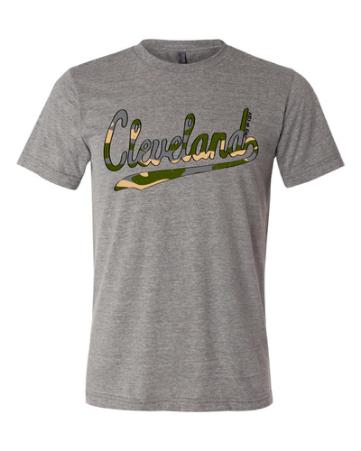 """Cleveland Camo Script Design"" on Gray - Only in Clev"