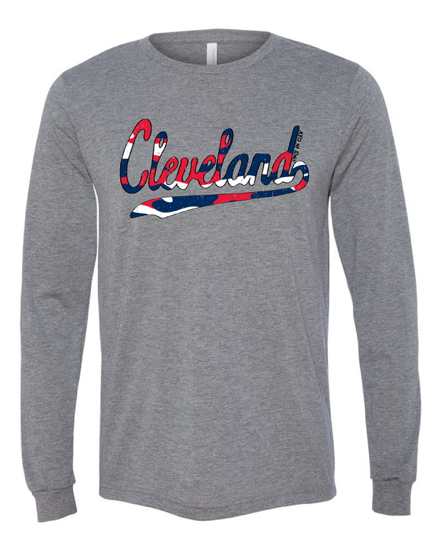 """Camo Script"" Cleveland Baseball Design on Gray"