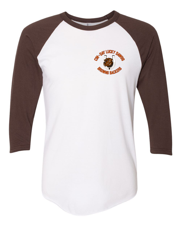 """Cin - Day Lucky Dawgs"" Left Chest Design on White/Brown Raglan - Only in Clev"