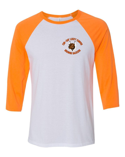"""Cin - Day Lucky Dawgs"" Left Chest Design on White/Orange Raglan - Only in Clev"