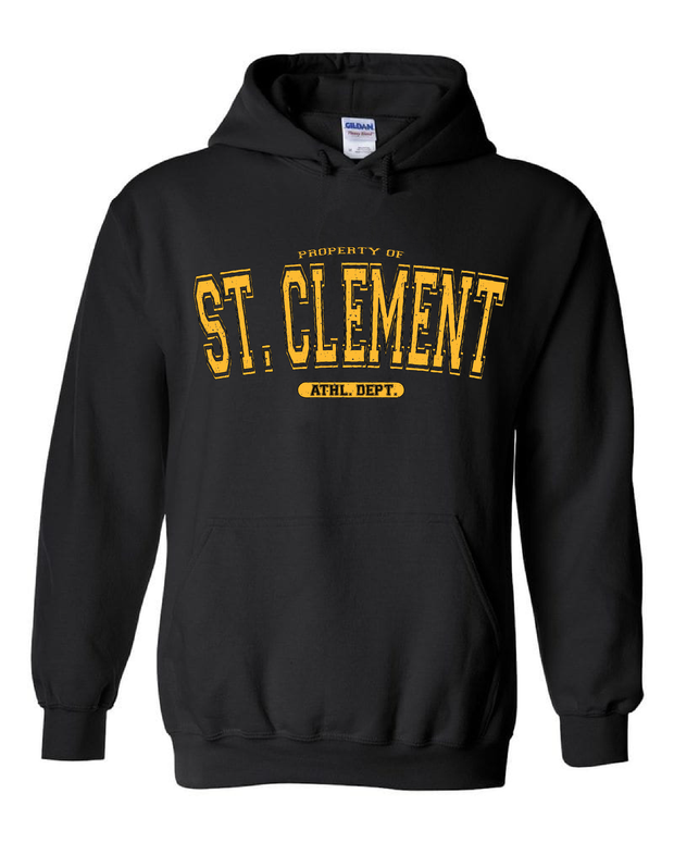 "Property of ""St. Clement"" Design on Black"